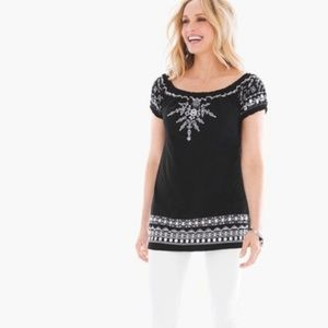 Chico's Size 2 Embroidered Peasant top